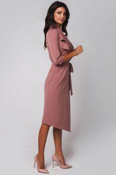 9ceacb11fdc Платье с запахом из костюмной ткани. Платье в офисном стиле.
