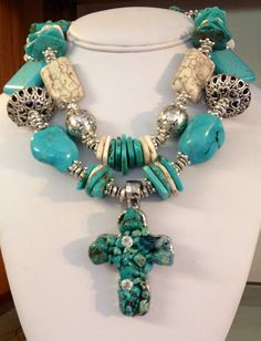 Chunky Turquoise Cowgirl Necklace on Etsy, $54.00