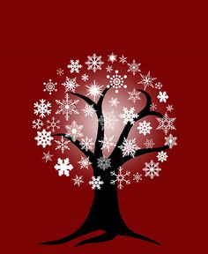 Winter tree with snowflakes.