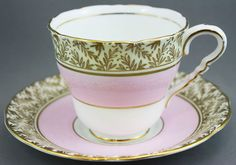 ROYAL STAFFORD Tea Cup & Saucer / Cream on white & Pink + Gold