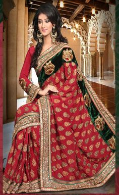 #Maroon Faux Crepe #Saree with #Blouse @ $409.77 | Shop @ http://www.utsavfashion.com/store/sarees-large.aspx?icode=slssk3794
