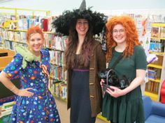 Halloween 2013- Ms. Frizzle, the Good Witch and Merida were working the Circ Desk!! Looking forward to seeing who will be at the Circ Desk on Halloween 2014!