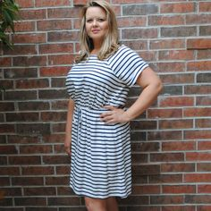 One Faith Boutique - Navy Blue and White Striped Dress with Tie Waist, $29.99 (http://www.onefaithboutique.com/plus-size/navy-blue-and-white-striped-dress-with-tie-waist/)