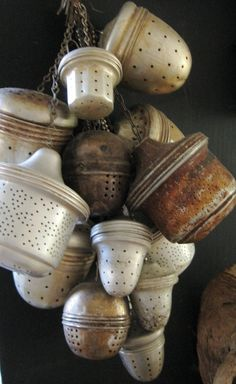 Wabi Sabi ~ Japanese Philosophy of Authenticity ~ finding beauty in imperfection and simplicity in nature. Accepting the natural cycles of growth, decay and death. (Shown here: old tea infusers) Tea Strainer, Tea Infuser, Wabi Sabi, Vintage Tee, Vintage Party, Japanese Philosophy, Café Chocolate, Cuppa Tea, My Cup Of Tea