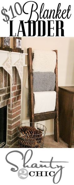 Blanket Ladder -Home Decor – Haus Dekoration Diy Wooden Blanket Ladder, Quilt Ladder, Diy Home Decor For Apartments, Diy Casa, Pottery Barn Inspired, Lounge Decor, Diy Décoration, Easy Diy, Deco Design