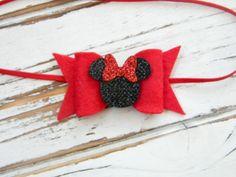 Baby Minnie Headband  Red Minnie Headband  Red Bow Minnie