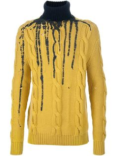 DEAD MEAT Dripping Paint Cable Knit Sweater