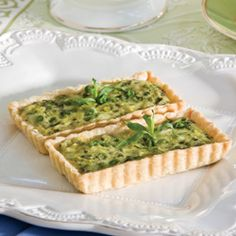 Sweet Pea and Leek Tartlets  Baby sweet peas and leeks combined with creamy goat cheese make flavorful tartlets.