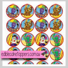 8 Pack Edible Image for cupcakes - Design 1 (new) - Inspired by wiggles party Wiggles Party, Edible Cake Toppers, Diy Toys, Wooden Diy, 2nd Birthday, Decorative Plates, Cupcakes, Inspiration, Image