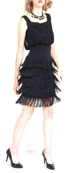 60s Flapper Fringe Dress Fringe dress, Flappers and 20s fashion - black skirt halloween costume ideas