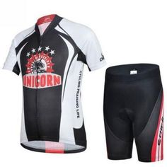Kids' Black-White Short Sleeve Cycling Jersey Set #Cycling #CyclingGear #CyclingJersey #CyclingJerseySet
