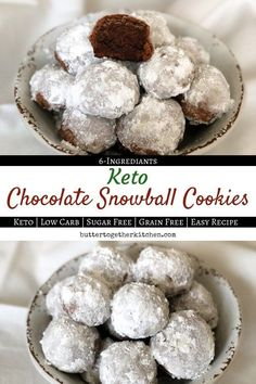 Perfectly soft and sweet, yet keto-approved to fit your macro requirements! Try these Keto chocolate snowball cookies! Keto Cookies, Chip Cookies, Almond Cookies, Pumpkin Cookies, Shortbread Cookies, Sugar Cookies, Keto Friendly Desserts, Low Carb Desserts, Chocolate Snowballs