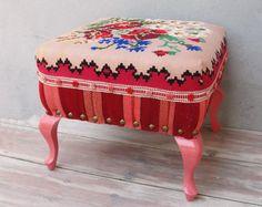 Bohemian Kilim Ottoman, Kilim Pouf Bohemian Wooden Furniture Vintage Kilim Hand woven, Global Textile, Stripes and Flowers