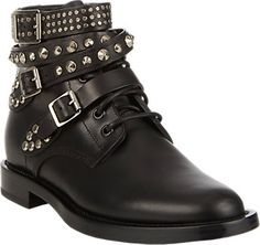 Saint Laurent Studded-Strap Ranger Ankle Boots