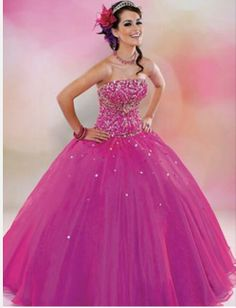 Magenta quinceanera dress