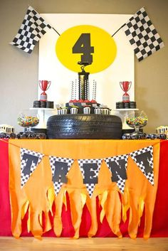 Boys Rad Race Car Themed Birthday Party Table Decoration Ideas
