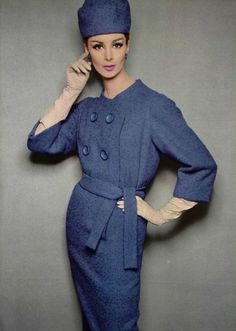 Documentaire sur la robe de jourL'Officiel #485, 1962Photographer: Philippe PottierModel: Wilhelmina CooperLanvin Castillo, Fall 1962