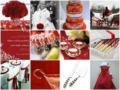 Christmas Wedding Inspiration Board...I really  like the chairs and the red bridesmaid dress