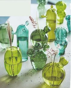 Love these cactus vases. they are so quirky and fun Roost Quirky Cactus Hand-Blown Glass Vases - Set Of 5 – Modish Store Quirky Home Decor, Diy Home Decor, Room Decor, Boho Home, Cactus Decor, Cactus Centerpiece, Deco Floral, Cactus Y Suculentas, Calla Lilies