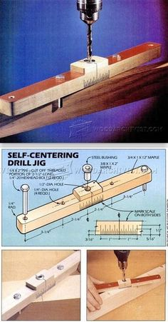 Self Centering Jig - Drill Tips, Jigs and Fixtures - Woodwork, Woodworking, Woodworking Plans, Woodworking Projects Woodworking For Kids, Woodworking Workshop, Woodworking Classes, Woodworking Techniques, Woodworking Projects Diy, Woodworking Wood, Youtube Woodworking, Woodworking Videos, Wood Projects