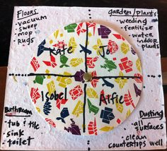 Chore-wheel craftproject - Great for families, roommates, kids, and even singles.  Keeps everyone on task.