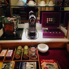 One of the best mini-bar and coffee set ups I have seen at a hotel. (My hOtel: Corinthia London @corinthiaLondon)