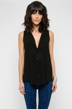 Strapped and Sleeveless Button Down Shirt in Black :: tobi