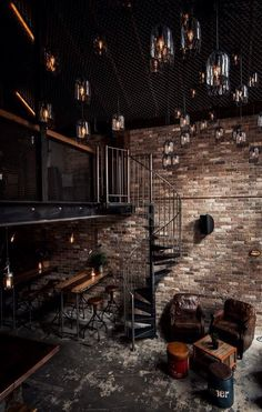 Spiral stairs to loft, lighting, fence on ceiling