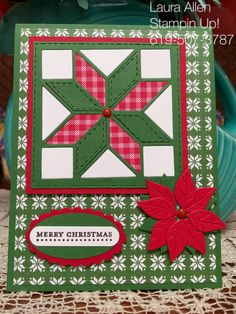 I used the new Quilted Christmas Suite from Stampin Up. The Christmas Quilt stamp set, Quilt Builder Framelits, and, Quilted Christmas DSP. Quilting is my first love and I know I will get a lot of use from this set!