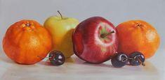 bodegon 25 Mixed Fruit, Hyperrealism, Food Art, Still Life Drawing, Kitchen Art, Food Illustrations, Oil Painting On Canvas, Saatchi Art, Vegetables