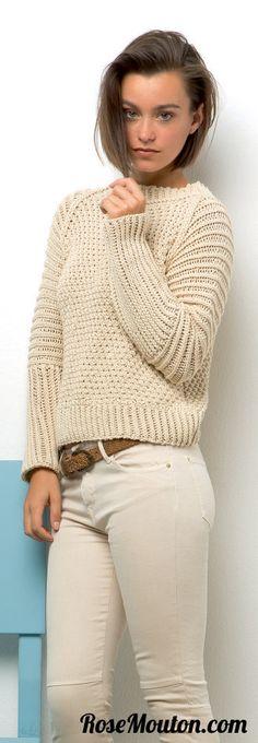 Pullover tricoté en fil Presto de Lang Yarns https://www.rosemouton.com/lang-yarns-modele-pullover-64-catalogue-218-1815.html #rosemouton #pull #langyarns #coton #tricot #knit #knitting