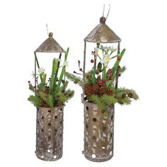 Narcissus 2 Piece Metal Lantern Set