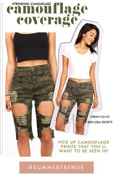 "Camouflage print bermuda denim shorts with a high rise fit. Eextreme cutouts and distressing across the front with completely torn out knee rips. Front and back pockets with button and zip fly closure. Stretchy denim.  *Machine Wash Cold *98% Cotton 2% Spandex *22""/56 cm Top Bottom 12""/31 cm Inseam (Measured from Size Medium) Model is 5'5 wearing a Size S *Refer to Size Chart #1 *Made in USA  #bermudashorts #kneeshorts #highwaistshorts #denim #camo #camouflage #distressed #pinkice"