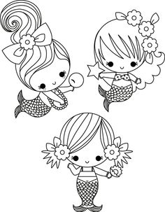 Cute Little Mermaid Colouring Page