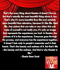 This is amazing. And that is why theatre is and will remain one of the largest aspects of my life