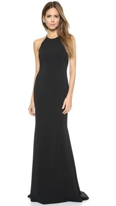 Badgley Mischka Collection Halter Odessa Gown Simple Black Prom Dress Tie Dresses Cly