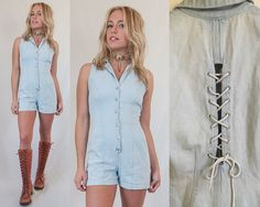 This 90s vintage denim shorts romper is so cute and versatile. Buttons up the front. Very comfortable to wear... It has definitely been worn a