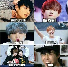 Jungkook - Your crush; Taehyung - His crush; NamJin - His parents; J-Hope - Your best friend; Jimin - You Jimin, Bts Bangtan Boy, K Pop, 2ne1, Taehyung, Vkook Memes, Bts Memes Hilarious, Meme Center, Big Bang