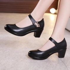 Plus Size Block Heels Platform Shoes Women Pumps 2019 Black White Heels Mary Jane Shoes Ladies Wedding Shoes Bride - Black 4 Black And White Heels, Black High Heels, Black Shoes, Black 7, Types Of High Heels, Cute High Heels, Gladiator Sandals Heels, Wedding Shoes Bride, Platform Block Heels