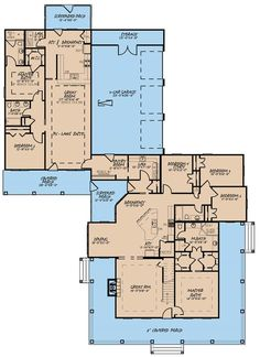 193-1017: Floor Plan Main Level House Plans One Story, Family House Plans, Shop House Plans, Ranch House Plans, Country House Plans, Best House Plans, Dream House Plans, Story House, House Floor Plans