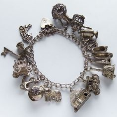 Vintage 1980 English Silver Charm Bracelet 16 Charms Moving Opening Loaded