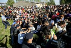 A small number of Croatian police officers stand up to hundreds of migrants as they attemp...