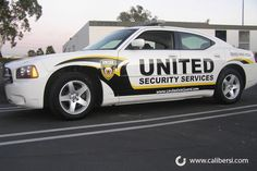 Security Vehicles with reflective vinyl.
