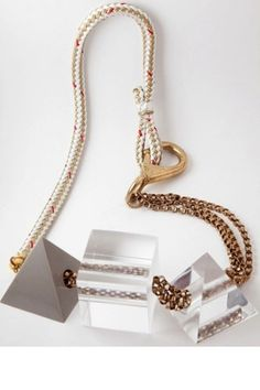 Brianna Fano Triangle and Square Lucite Necklace, $427, available at Not Just a Label. #refinery29 http://www.refinery29.com/clear-accessories#slide-10