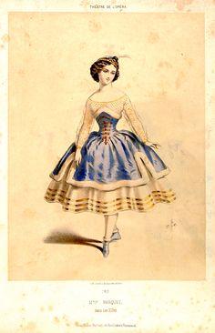 """Louise Marquet (1834-1890) dans """"les Elfes"""" à l'Opéra de Paris en 1854 - MAS Estampes Anciennes - Antique Prints since 1898"""
