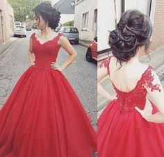Red Long Prom Dresses Appliques Beading Sexy V-Neck Lace-up Ball Gown Floor Length Stock Tulle Quinceanera Party Dresses