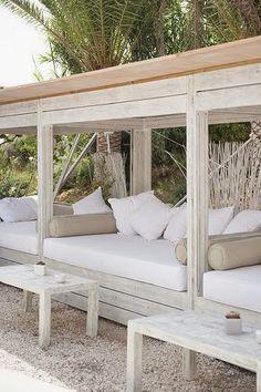 Outdoor daybed at Atzaro Beach in Ibiza. Outdoor Daybed, Outdoor Lounge, Outdoor Seating, Outdoor Rooms, Outdoor Living, Outdoor Furniture, Outdoor Decor, Outdoor Cabana, Built In Garden Seating