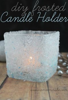 DIY Frosted Candle Holder Winter DIY Round up
