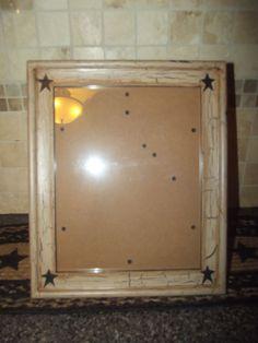 Primitive Wood Picture Frame 8 x 10  Crackle Tan Black Star Country Decor #NaivePrimitive