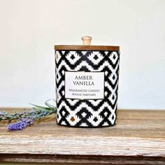 With a natural wooden lid this Amber Vanilla candle smells amazing. An Aztec design ensures it will look stylish in any home. #candle #candlepoy #candlelight #candles #scentedcandles #candlegift Home Interior Accessories, Aztec Designs, Elegant Homes, Rustic Furniture, Scented Candles, Flask, Your Design, Amber, Vanilla